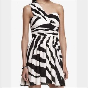 Express Black/White One Shoulder Cocktail Dress